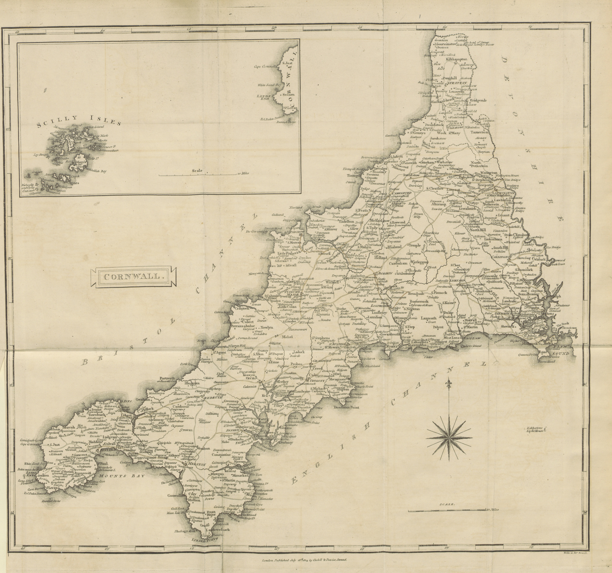 Map of Cornwall in 1814