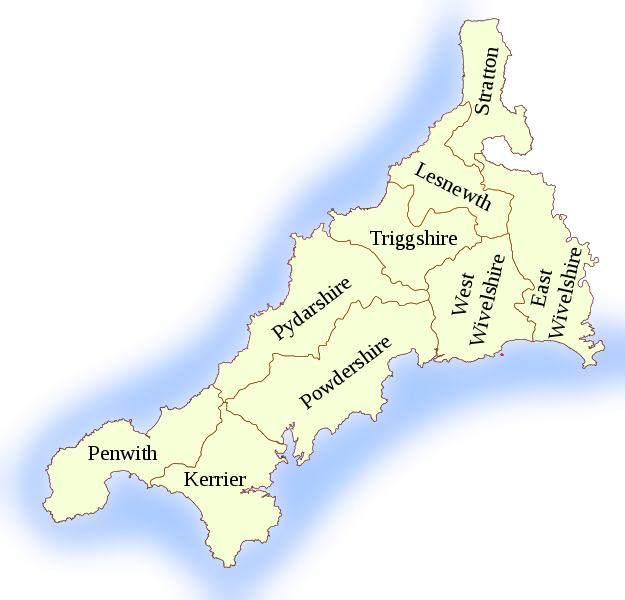 Map of Cornwall Hundreds